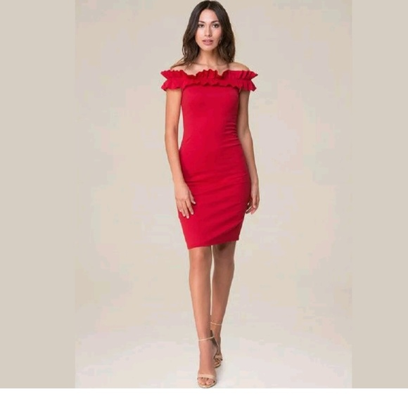bebe Dresses & Skirts - Bebe Red Ruched Off Shoulder Bodycon Dress XXS